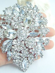 Wedding 4.13 Inch Silver-tone Clear Rhinestone Crystal Flower Brooch Pendant Bridesmaid Jewelry