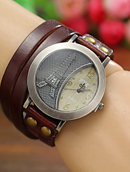 Женские Модные часы Кварцевый Кожа Группа Эйфелева башня Богемные Черный Белый Синий Красный Оранжевый Коричневый Зеленый