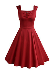 Women's Party Vintage A Line / Skater Dress,Solid Sweetheart Knee-length Sleeveless Red / Black Cotton / Polyester Summer