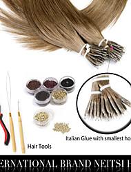 """neitsi® 20 """"laço 1g / s anel nano cabelo reto 100% extensões de cabelo humano 8 # incluem ferramentas de cabelo"""