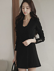 Women's Shawl Lapel , Others Above Knee Long Sleeve, Dress