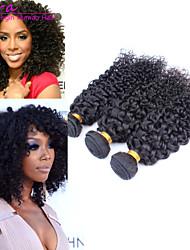 3pcs / lot 8 '' - 26''brazilian cheveux vierges naturelle couleur noire cheveux crépus bouclés tisse humaine