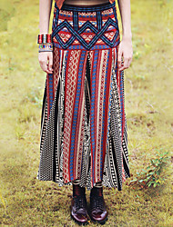 Autumn Ethnic Fashion Women's Original Design Vintage Embroidery Patchwork Bohemia Print Long Skirts