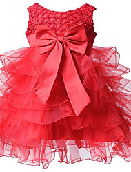 BHL Infant Girl's Red Floral Dress Sleeveless Ball Dress Wedding Dresses Pageant Party Dresses For 0~2Y Baby Girls