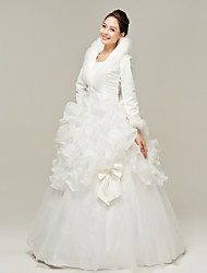 A-line Wedding Dress - White Floor-length V-neck Organza