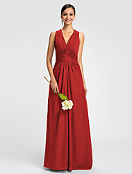 Dress - Mini Me A-line V-neck Floor-length Chiffon with Side Draping / Ruching