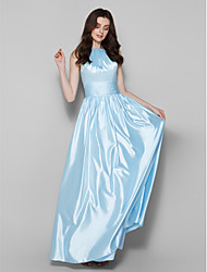 Lanting Bride Floor-length Charmeuse Bridesmaid Dress Sheath / Column Jewel Plus Size / Petite with