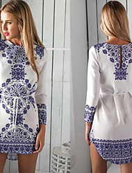 Zixin Women's Print Multi-color Dresses , Sexy / Casual / Work Round Long Sleeve