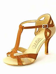 Customizable Women's Dance Shoes Leatherette Leatherette Latin / Salsa Sandals Customized Heel Beginner / Professional / Indoor / Practice