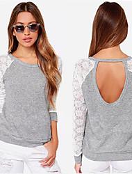 Sexy / Informell / Business Rund - Langarm - FRAUEN - T-Shirts ( Baumwolle / Spitze )