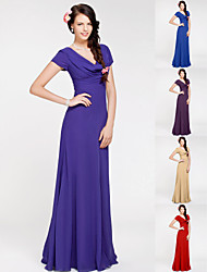 Bridesmaid Dress Floor Length Georgette Sheath Column Cowl Dress