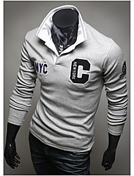 Camisetas ( Algodón/Rayón )- Cosecha/Casual/Fiesta/Trabajo Manga Larga para Hombre