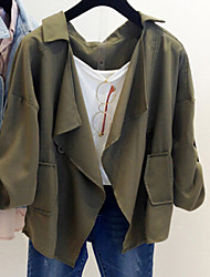 Women's Casual Long Sleeve Cotton/Polyester Medium Coats