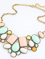 Metal exaggerated the flamboyant geometry polygon temperament short necklace