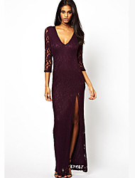 A.H.W  Women's V-Neck Dresses , Lace Sexy/Casual ¾ Sleeve