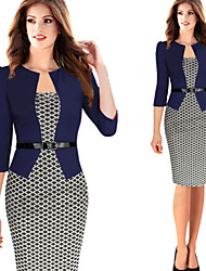 Women's Check Blue / Black / Purple Dresses , Casual / Party / Work Round Long Sleeve plus size