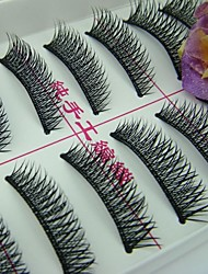 10 Pairs Fabulous Thick Black Chemical Fiber False Eyelashes