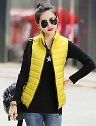 Women's fashion collar candy color cotton vest, Casual/Party/Work Polyester