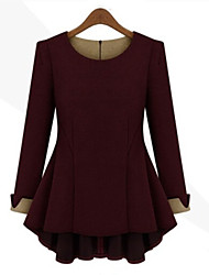 Women's Round Tops & Blouses , Cotton Blend Casual Long Sleeve Tracy