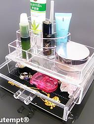 Хранение косметики Коробка с косметикой / Хранение косметики Plastic / Акрил Однотонный Квадрат 18.5 x 11.5 x 11.6 Бисквитный
