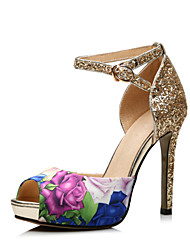 Women's Shoes Leather Stiletto Heel Peep Toe Sandals Dress / Casual Gold