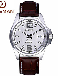 EASMAN® Watches Men Vintage Italy Genuine Leather Auto Date Analog Quartz Watch Stainless Steel Wristwatches Lover Gift