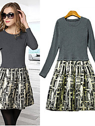Women's Print Gray Dresses , Casual Round Long Sleeve