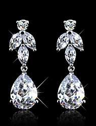 Wedding Accessories Cubic Zirconia Dangle Earrings Elegant Jewelry Rhodium Plated Drop Earrings For Women