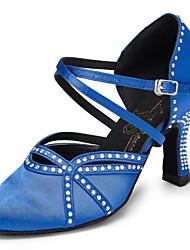 Non Customizable Women's Dance Shoes Salsa Flocking Cuban Heel Blue
