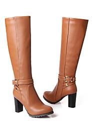 Черный / Коричневый - Женская обувь - Для праздника / На каждый день - Дерматин - На толстом каблуке - С круглым носком / Модная обувь -
