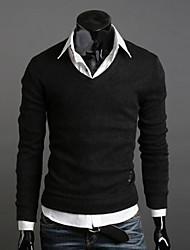 Vintage/Informell/Business Rund - Langarm - MEN - Pullover ( Acryl/Organische Baumwolle/Kunstseide )