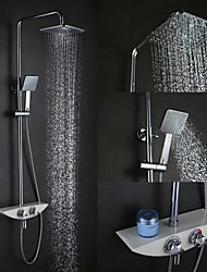 High Quality Fashion Wall-Mounted Brass Chrome 38 ℃ Smart Thermostatic Shower Faucets Set - Silver
