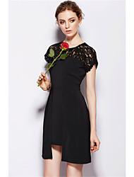 2015 High Quality Summer Dress Round Neck Shorte-sleeved High Waist Black Stitching Slim OL Irregular Slim Silk Dress