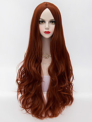 80cm Long Loose Wavy U Part Hair Auburn Heat-resistant Synthetic Fashion Party Wig