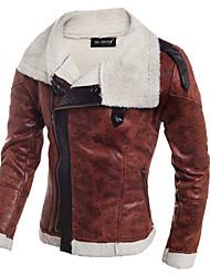 Men's  Large Lapel Slim PU Cashmere Jacket