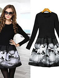 Women's Round Dresses , Cotton Blend Casual Long Sleeve life