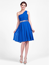 Knee-length Chiffon Bridesmaid Dress - Plus Size / Petite A-line / Princess One Shoulder