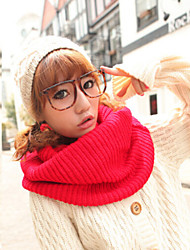 Unisex Winter Knitted Solid Color Thermal Yarn Muffler Scarf