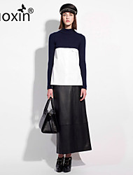nuoxin® Women's High Collar Long Sleeve Elegant Sweater+Leather Fashion Skirt Suits