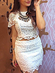 Women's Round Neck Suits , Lace Short Sleeve