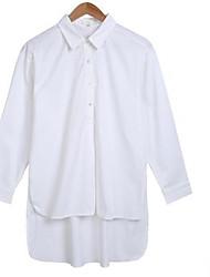 Damen Hemd Baumwolle Langarm Rundhalsausschnitt
