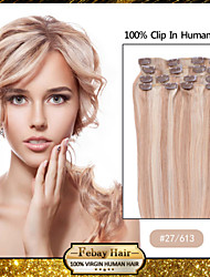 "18 ""7pcs kleur 27/613 clip in remy human hair extensions"