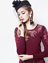 Fashion Wild OL Lace Splice Slim Long-sleeved Knit Shirt Woman Round NeckTop Female HNY0714