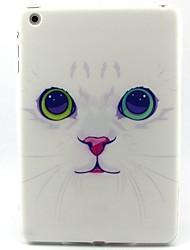 motif de chat blanc cas de mouton souple pour Mini iPad 3, iPad 2 Mini, Mini iPad