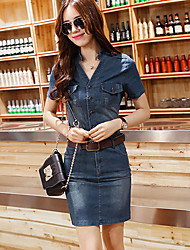 Women's Blue Denim Dress , Casual Short Sleeve