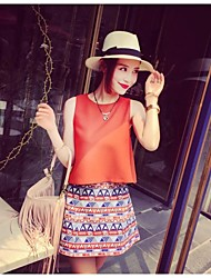Women's Orange Set Sleeveless