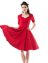 Women's Vintage / Party Solid A Line / Ball Gown Dress , Square Neck Knee-length Wool / Cotton / Elastic