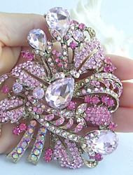 Gorgeous 3.54 Inch Gold-tone Pink Rhinestone Crystal Flower Brooch Art Deco
