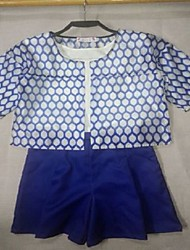 Women's Blue Set , Casual Short Sleeve