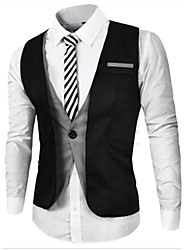 Men's Solid Formal Tank Tops,Cotton Sleeveless-Black / Gray
